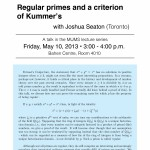 Regular primes and a criterion of Kummer - Joshua Seaton