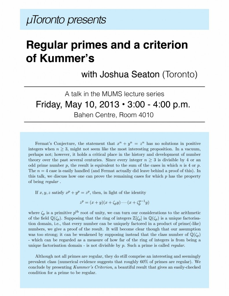 Regular primes and a criterion of Kummer - Joshua Seaton